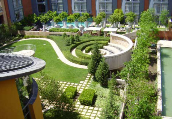 Melrose arch residential courtyards for Courtyard landscape design